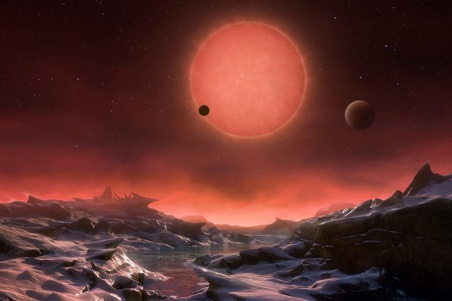Scientists have suggested several solutions for the red sky paradox. On the image: Artist's impression of the view from an exoplanet in orbit around the red dwarf star Trappist-1. Credit: ESO / M. Kornmesser