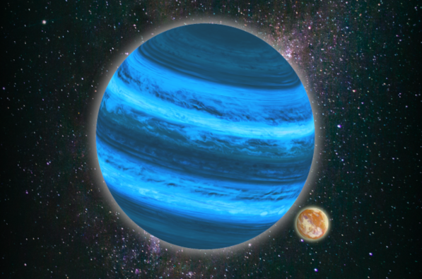 An artist's impression of a rogue exoplanet that has an exomoon but no star. Credit: Tommaso Grassi / LMU
