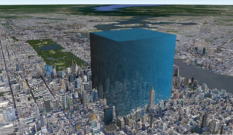 Illustration showing the amount of water that escaped the lake when compared to New York City. Credit: PHILIPP ARNDT, SCRIPPS INSTITUTION OF OCEANOGRAPHY