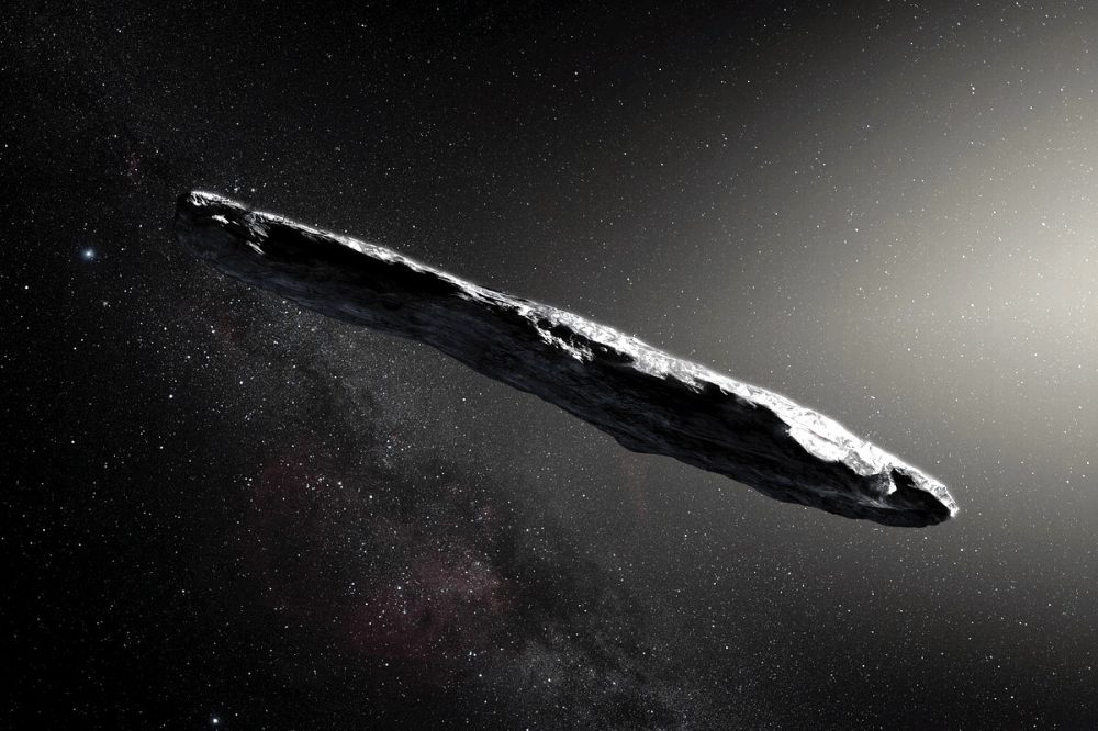 """Astronomers believe that Oumuamua had the shape of a cigar with flat sides. Professor Avi Loeb suggests that it could be a """"data collector"""" for UFOs on Earth. Credit: Shutterstock"""