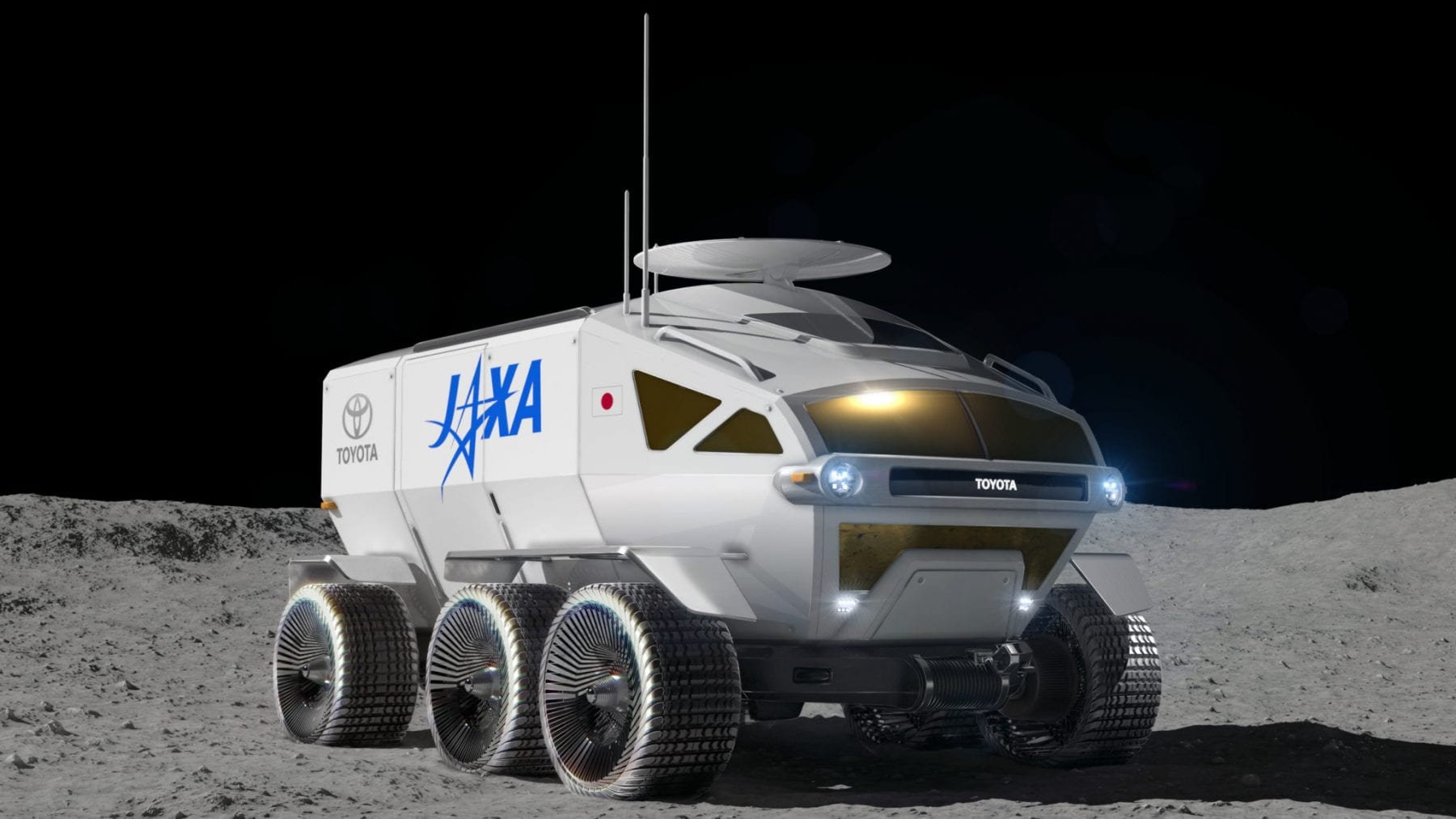 """An older artist's impression of JAXA's vehicle to be sent to the Moon in 2029. It was announced last year in collaboration with Toyota Motor Corp. and dubbed the """"Lunar Cruiser"""". The goal of the unique pressiorized rover is to establish permanent crewed presence on the Moon. Credit: JAXA"""