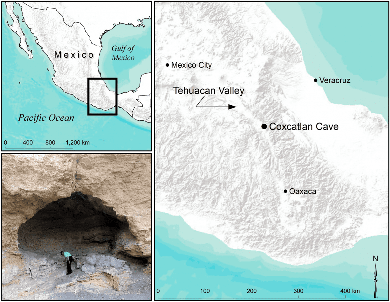 Map of the location of Coxcatlan Cave in the Tehuacan Valley, as well as an image of the entrance. Credit: Andrew Somerville