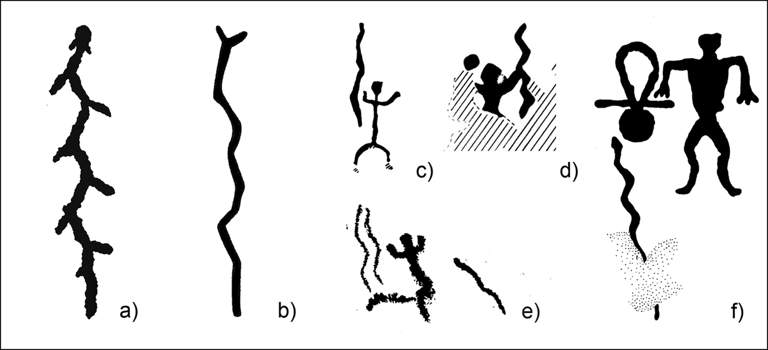 Depictions of snakes in Neolithic rock art from various North European sites. a) Lake Onega; b) Kola Peninsula; c-e) Finland ; f) White Sea. Credit: Satu Koivisto et al. / Antiquity, 2021