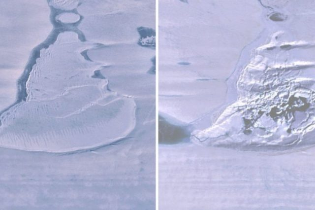 There is only cracked ice in the area that once covered the lake in Antarctica. Credit: University of Tasmania