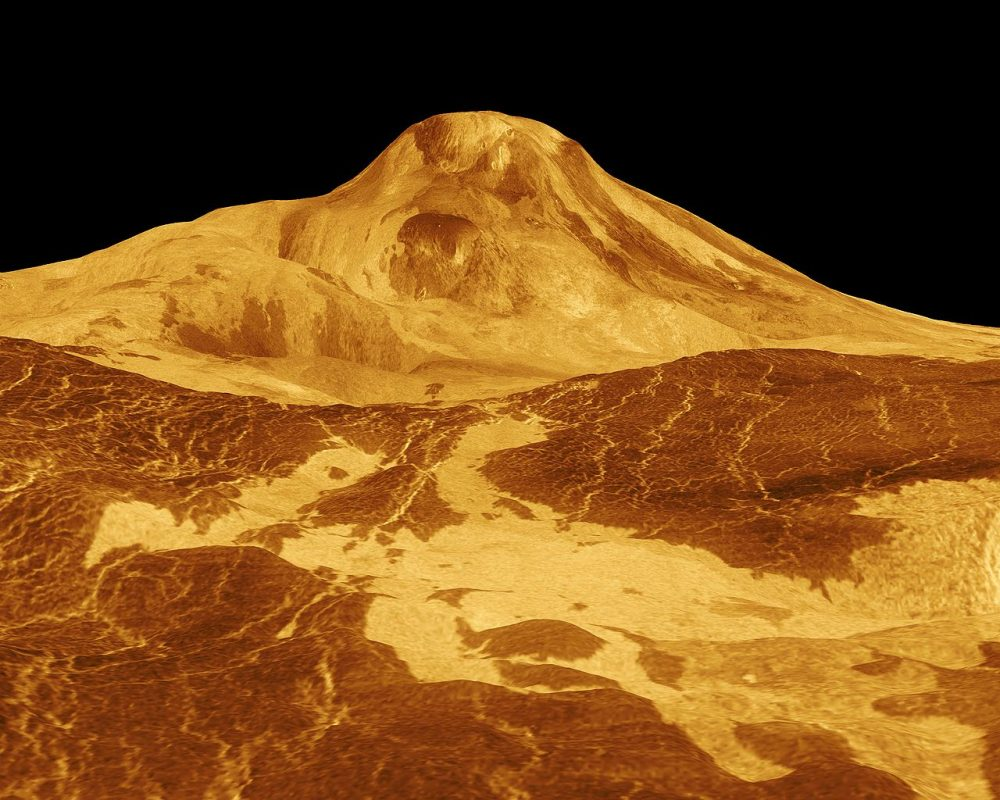 The Maat Mons volcano on Venus pictured here in an artist's perspective view of the surface of Venus, with a multiplied vertical scale. The image is based on radar images of the Magellan spacecraft. Credit: JPL-Caltech / NASA