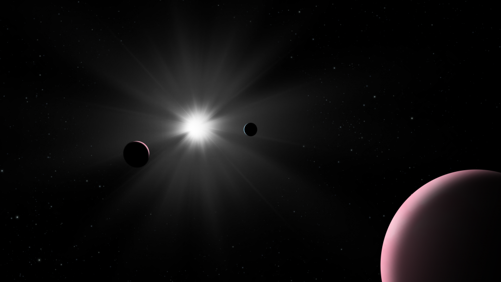 Artist's impression of the Nu2 Lupi planetary system, where astronomers accidentally discovered the first long-period transit exoplanet. Credit: ESA / CHEOPS