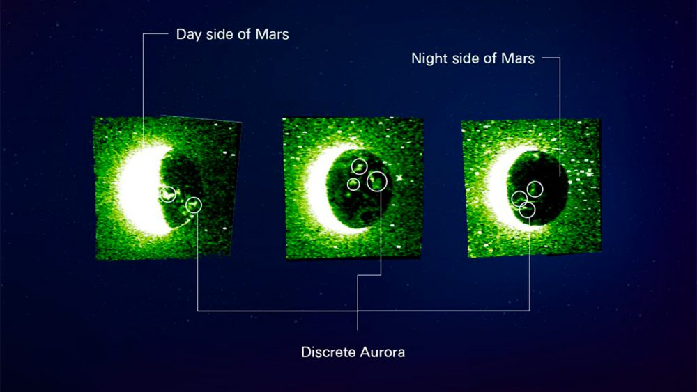 These are three images of atomic oxygen radiation at a wavelength of 103.4 nanometers from the planet Mars, obtained using an ultraviolet spectrometer. The auroras of Mars have never been captured in this way in the past. It is specified that the orbital images were taken on April 22, 23 and May 6, respectively. Credit: Hope Mars Mission