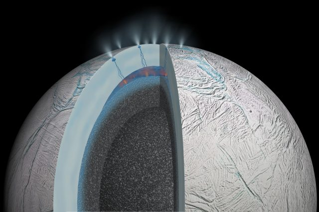 Artist's impression on the hydrothermal activity on Saturn's moon based on the results from the Cassini mission and the evidence of methane in Enceladus plumes. Credit: NASA / JPL-Caltech