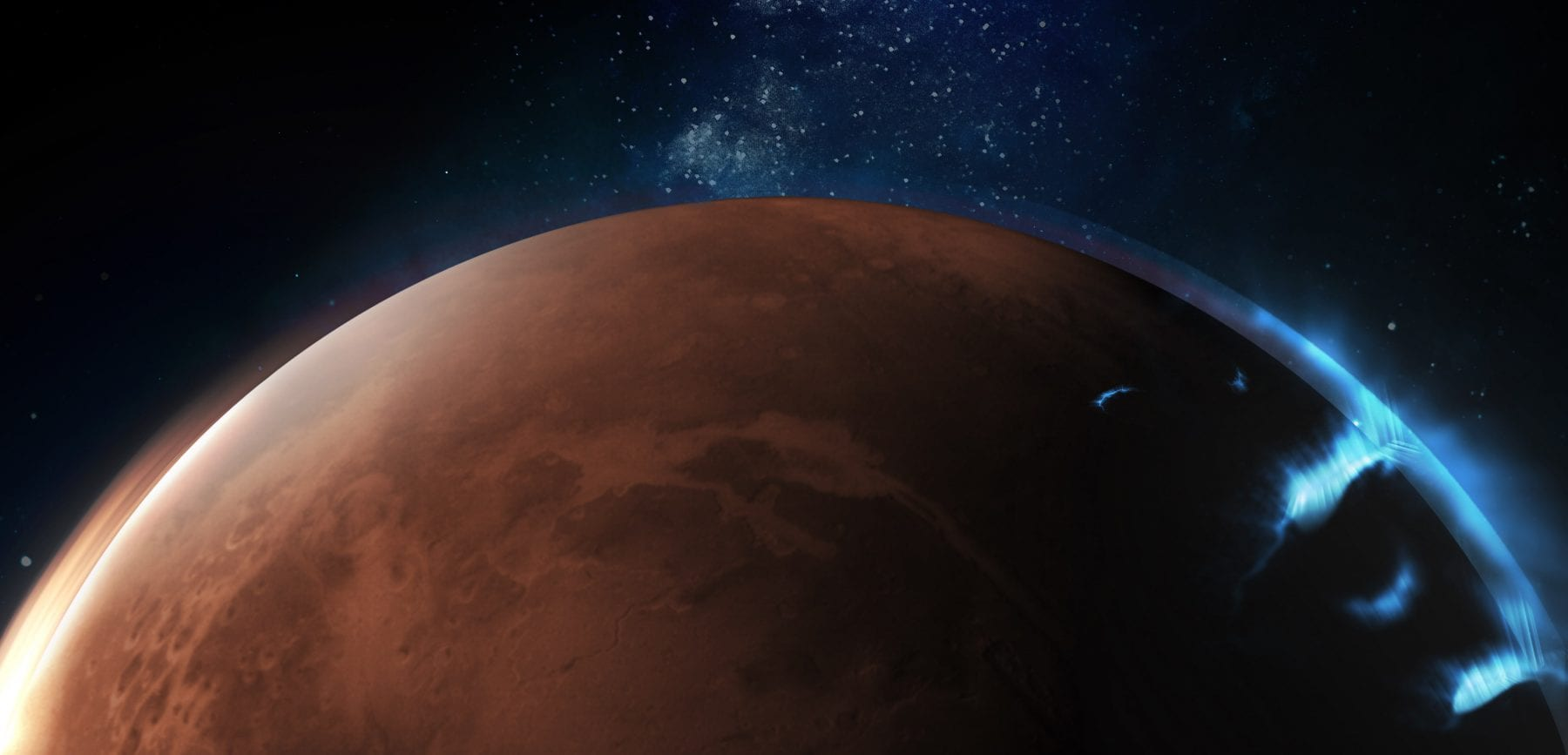 Artist's impression of the auroras on Mars. Credit: Emirates Mars Mission
