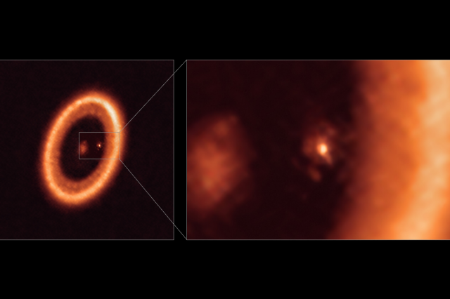 See the magnificent image containing the disk of dust around a protoplanet. Credit: ALMA, Myriam Benisty et al.
