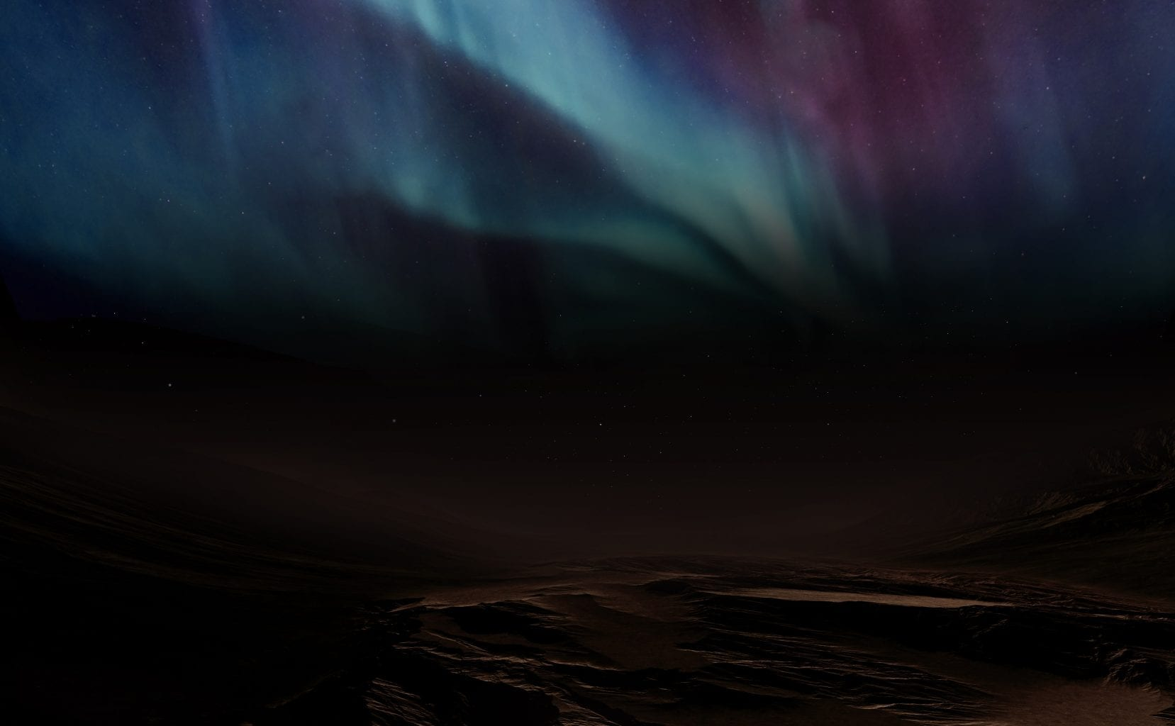 Artist's impression of the auroras as seen from the surface of Mars. Credit: Emirates Mars Mission