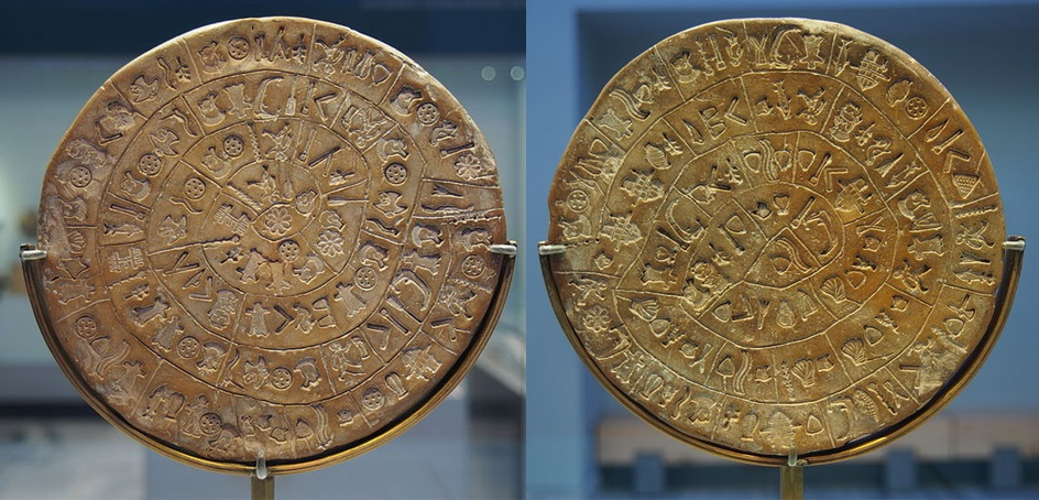 Both sides of the mysterious Phaistos Disc. Credit: Wikimedia Commons