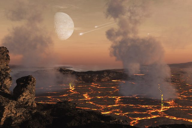Artist's impression of the Earth between 3.5 and 2.5 billion years ago when asteroids the size of cities bombarded our planet. Credit: SwRI/Simone Marchi, Dan Durda