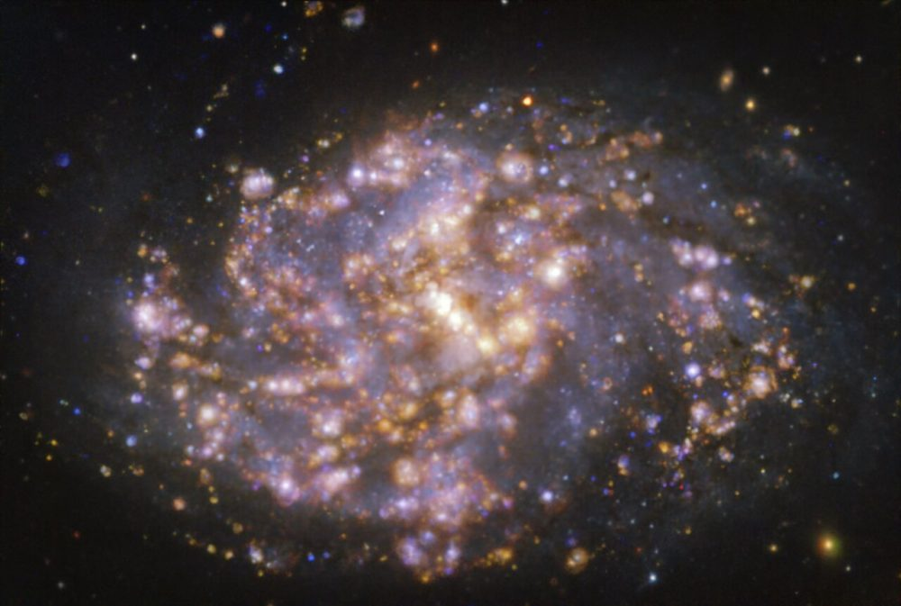 This photograph shows a spiral galaxy dubbed NGC 1087 located around 80 million light-years from Earth.