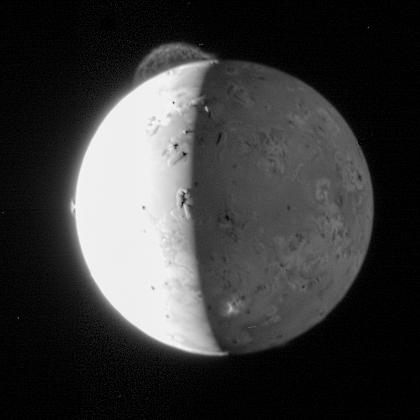 An old image of Io, captured in 2007 by the Long Range Reconnaissance Imager. To date, this is the best view of the eruption from the Tvashtar volcano (visible on the top left). Two more smaller volcanic plumes are visible on the left and front-bottom of the moon. Credit: NASA/JHUAPL/SwRI