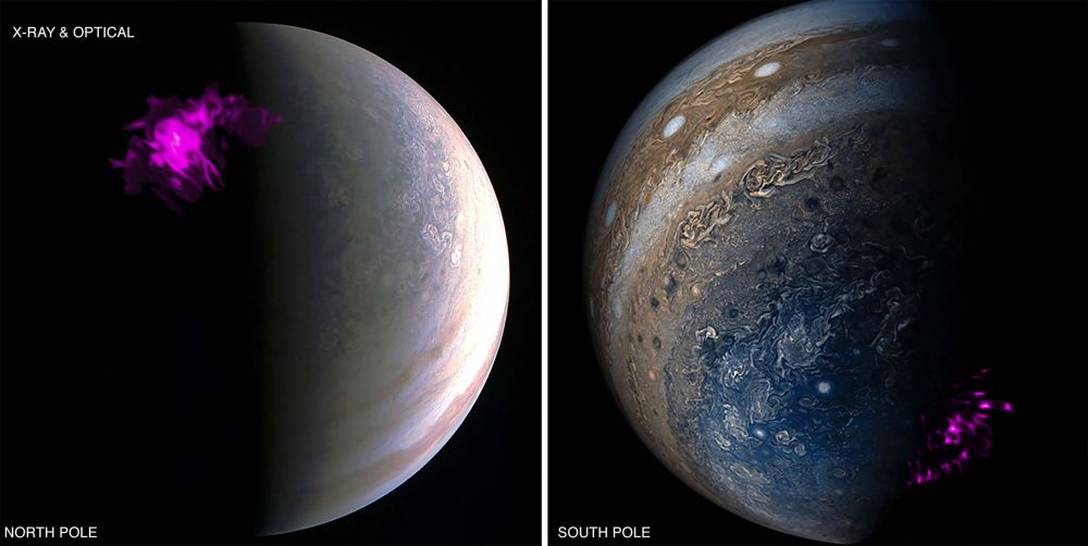 Overlaid images of Jupiter's pole from NASA's Juno satellite and X-ray telescope. Sources: NASA / Chandra / Juno Wolk / Dunn