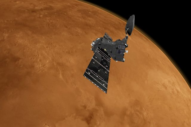 Artist's impression of the ExoMars TGO orbiter which attempts to solve the Mars methane mystery unsuccessfully. Credit: ESA
