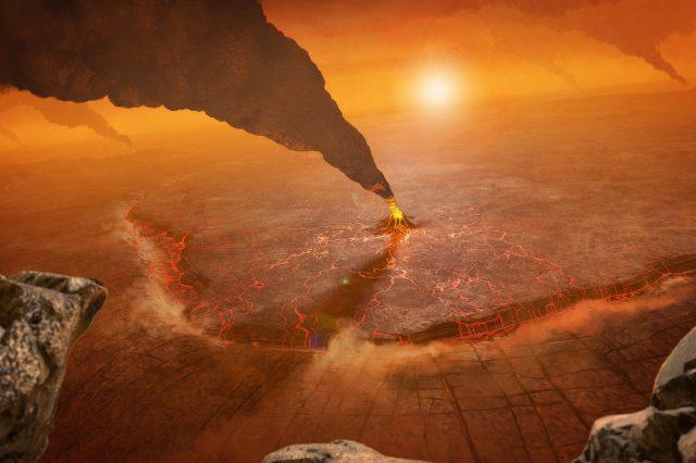 Artist's impression of active volcanoes on venus. Scientists believe that volcanoes are linked to the presense of phosphine on Venus. Credit: NASA/JPL-Caltech/Peter Rubin
