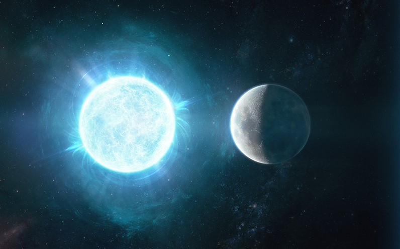 Artist's impression of the smallest, yet most massive white dwarf ever observed in a comparison with our Moon. Credit: Giuseppe Parisi