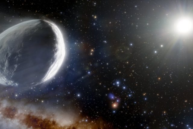 Artist's impression of the largest comet as it might look like in the outer Solar System. Credit: NOIRLab/NSF/AURA/J. da Silva