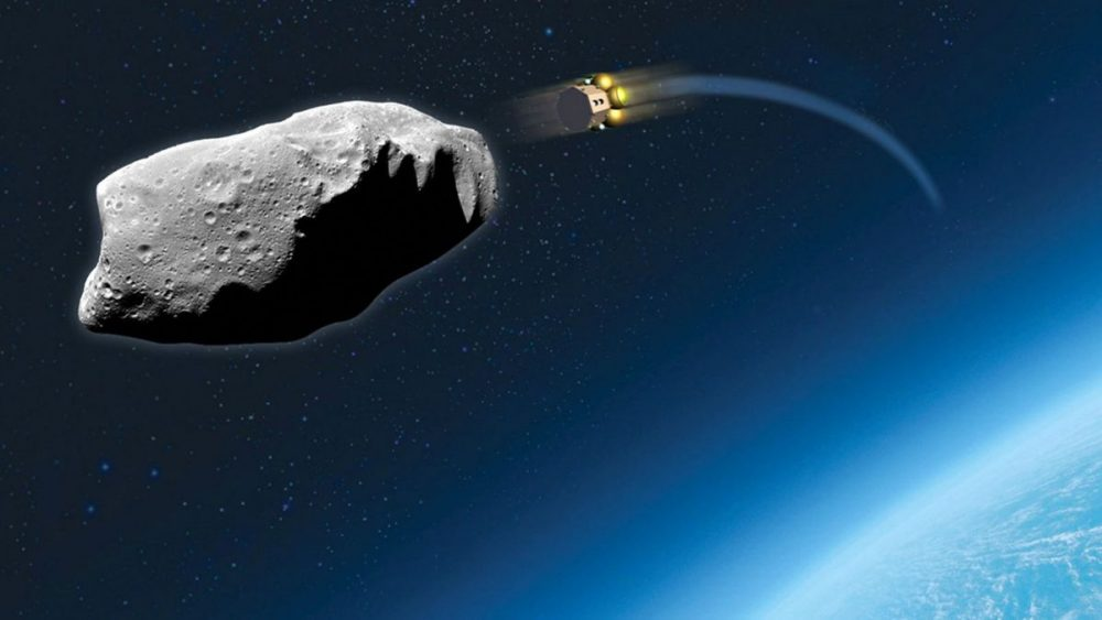 Artist's impression of one of the repurposed satellites on its way to hit an asteroid that endangers Earth. Credit: Airbus