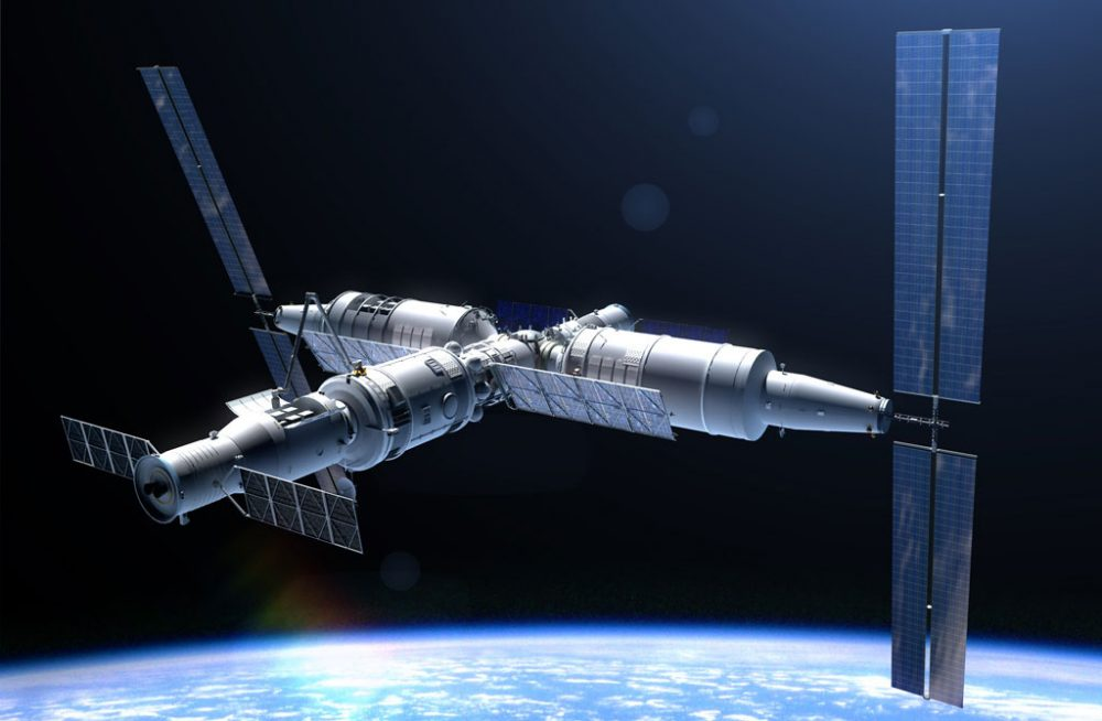 The Tiangong space station which is currently being assembled in space. Credit: CNSA
