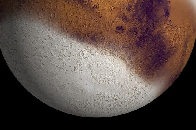 There might have been this much snow on Mars about 400,000 years ago. Credit: NASA/JPL-Caltech