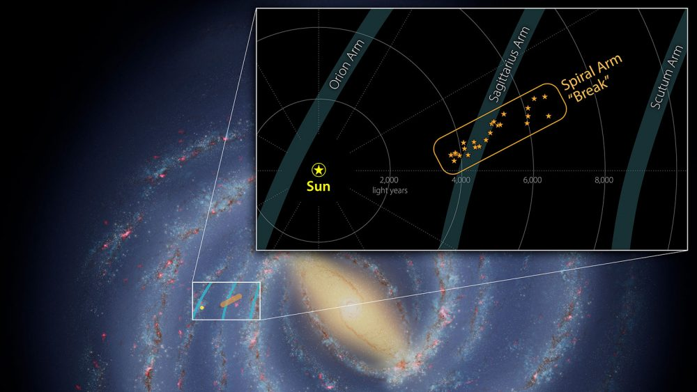 The newly-discovered mysterious structure in the Milky Way. Credit: NASA/JPL-Caltech