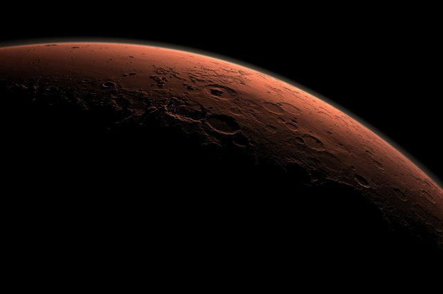Martian crust might serve as a radiation shelter for alien life on Mars. Credit: NASA