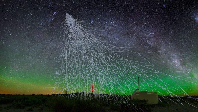 Artist's impression of cosmic rays. Credit: A. Chantelauze, S. Staffi, L. Bret