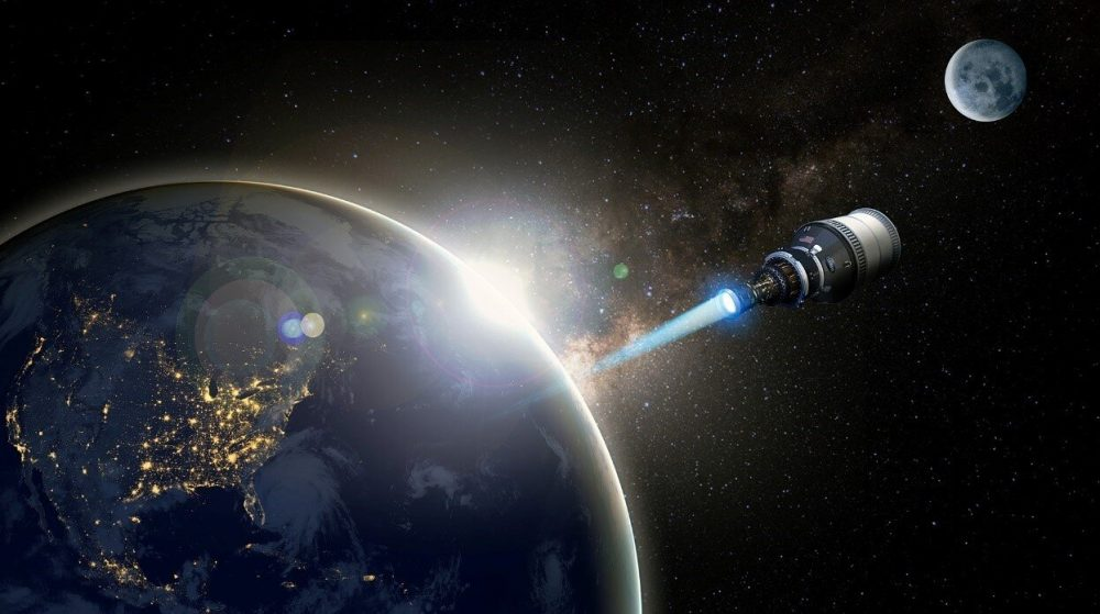 An artistic representation of the DRACO spacecraft. Credit: DARPA