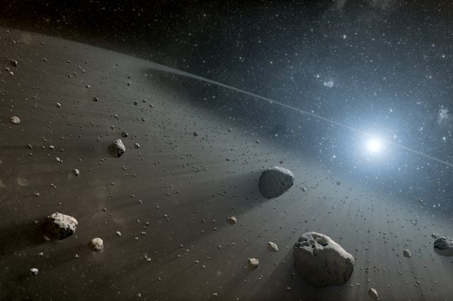 Artist's impression of an asteroid belt. Researchers discovered two unexpected red astroids in our main asteroid belt. Credit: NASA/JPL-Caltech