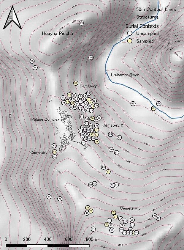 Locations of burial caves at Machu Picchu. Credit: Richard Burger et al. / Antiquity, 2021