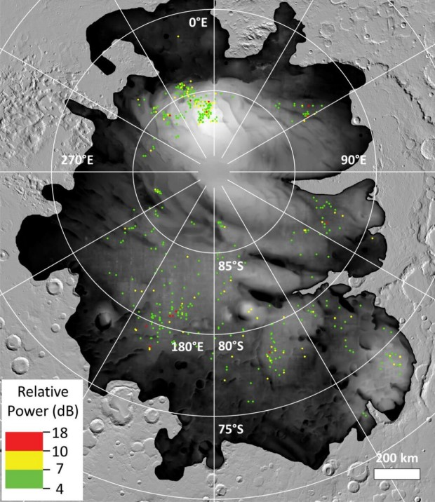 Distribution of areas at the south pole of Mars where radar data indicate the possible presence of water. Credit: ESA / NASA / JPL-Caltech