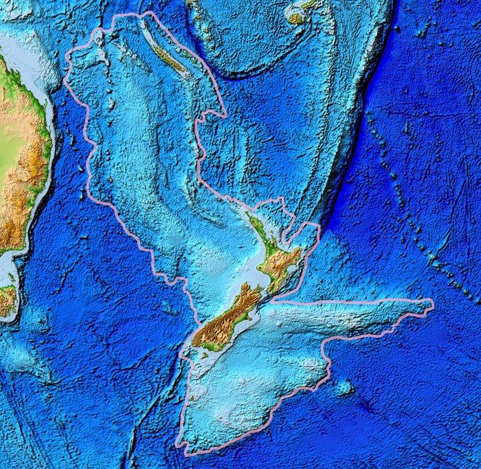 The boundaries of Zealandia. Credit: World Data Center for Geophysics & Marine Geology, National Geophysical Data Center, NOAA/Wikimedia Commons