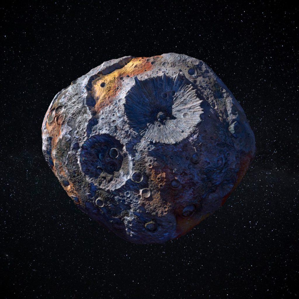 Artist's impression of Psyche. Credit: Maxar/ASU/P. Rubin/NASA/JPL-Caltech