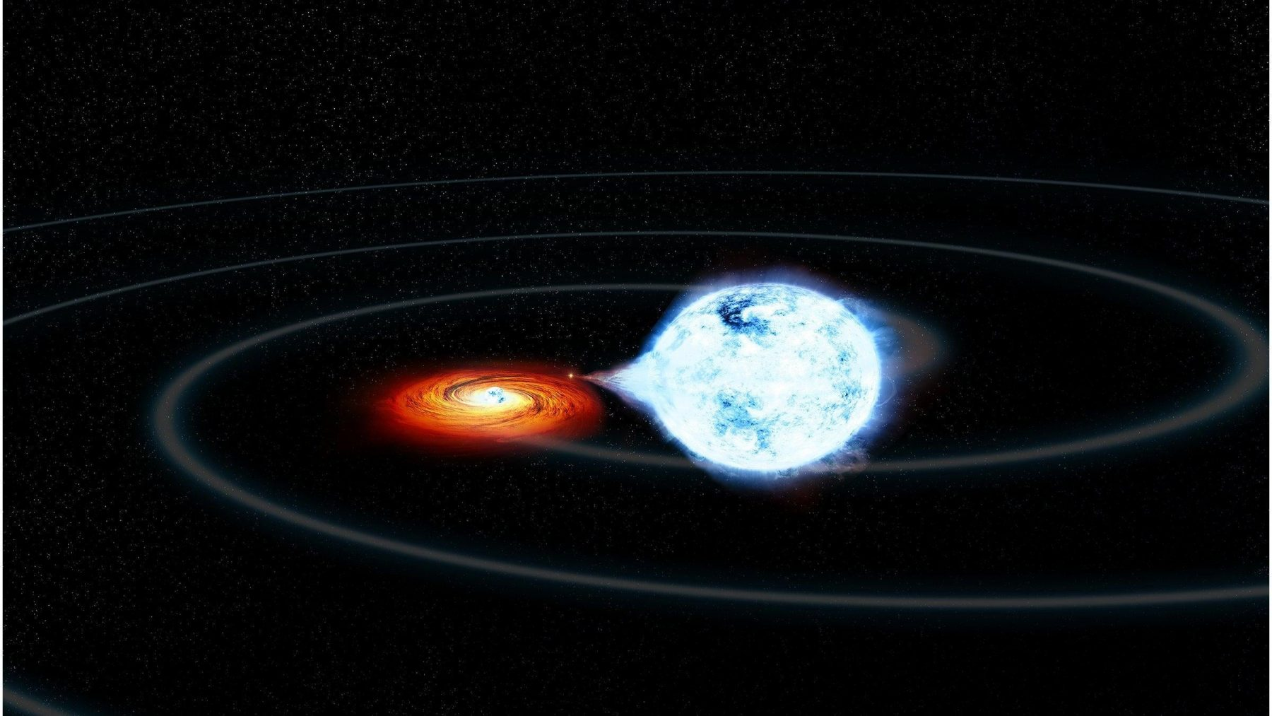 Artist's impression of a white dwarf in a binary system whose mass is being taken away by its partner. Credit: NASA/CXC/M. Weiss