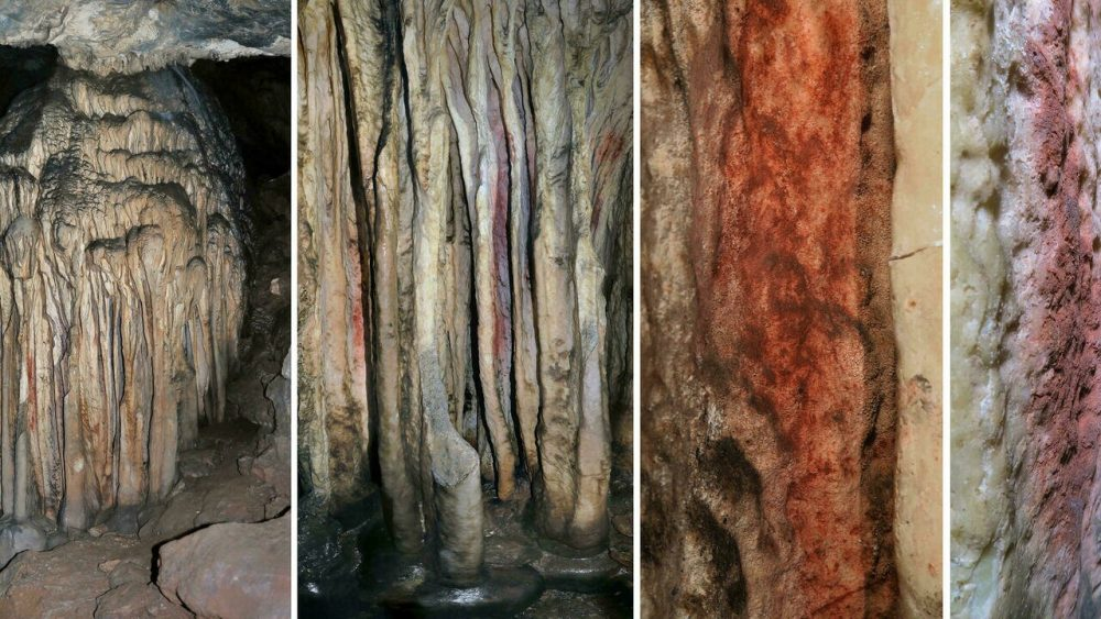 Close-up views of the coloured stalagmite tower. We now know that this cave art in Spain was painted by Neanderthals around 60,000 years ago. Credit: Africa Marti et al. / Proceedings of the National Academy of Science, 2021