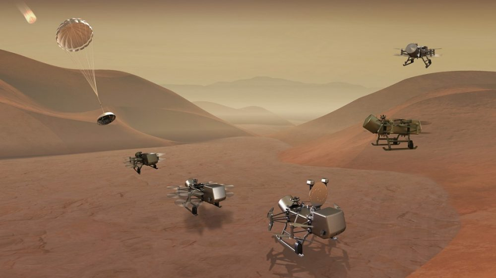 Artist's impression of the landing sequence for the Dragonfly Mission. Credit: Johns Hopkins/APL