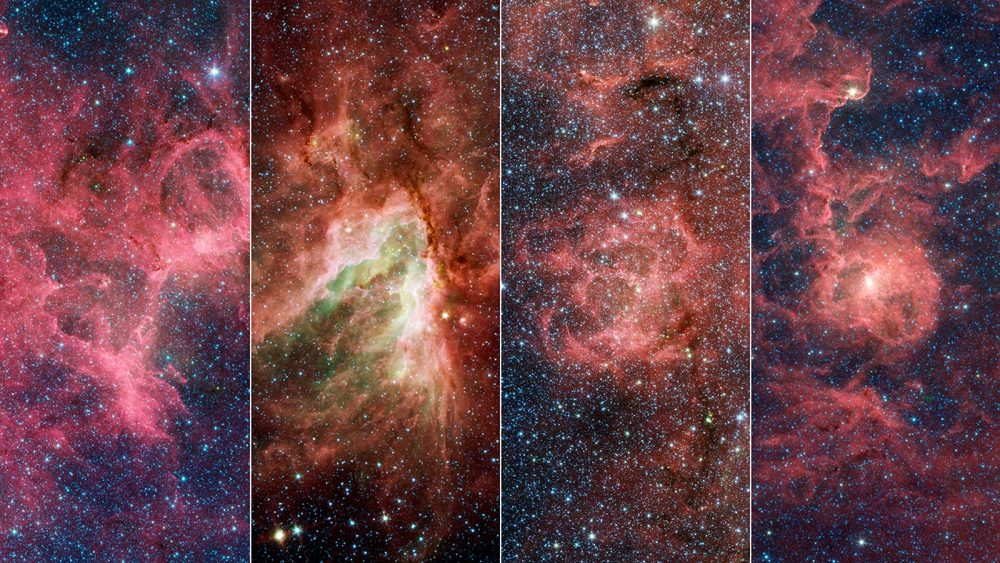 The four nebulae that are part of the Sagittarius Arm within the Milky Way. From left to right: Eagle, Omega, Triffid, Lagoon. Credit: NASA/JPL-Caltech