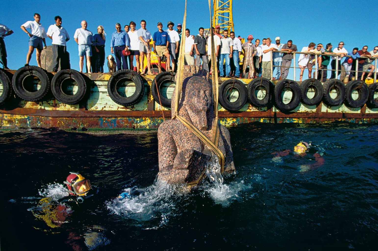 Underwater archaeologists excavated a massive statue from Heracleion a few years ago. Credit: Franck Goddio/Hilti Foundation
