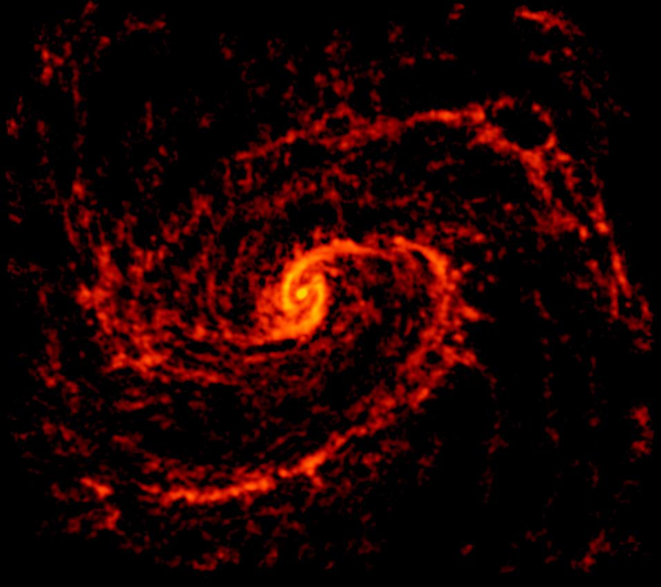 ALMA radio image of galaxy NGC 4321 (Messier 100). Credit: ALMA (ESO/NAOJ/NRAO); NRAO/AUI/NSF, B. Saxton