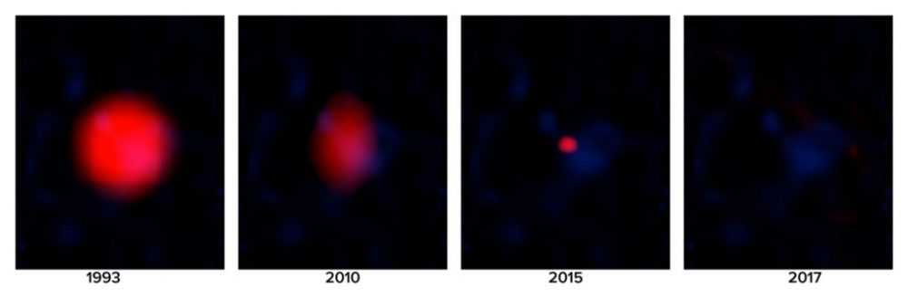 Radio images of the FIRST J1419+3940 gamma ray burst throughout the years. Credit: B. Saxton NRAO/AUI/NSF STScI, ROE, AAO, CalTech, National Geographic Society