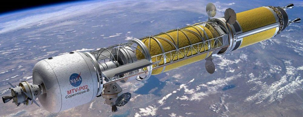 The concept of a manned spacecraft with two nuclear engines for flight to Mars from the now defunct NASA Constellation program. Credit: NASA