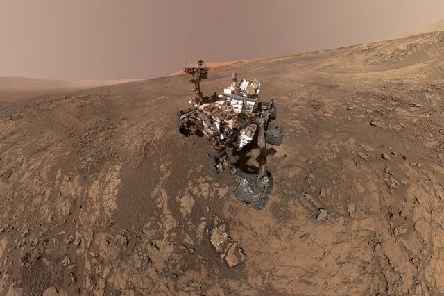 """Curiosity's """"selfie""""from the Gale Crater which is thought to have been a massive Martian lake. Credit: NASA/JPL-Caltech/MSSS"""