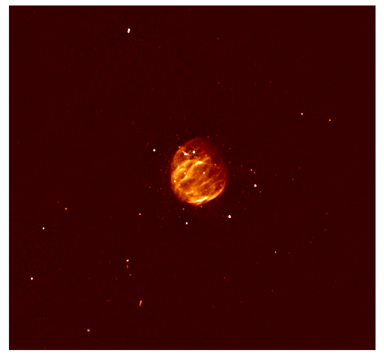 Supernova remnant G55.7+3.4 seen in this radio image by the VLA. Credit: Bhatnagar et al., NRAO/AUI/NSF