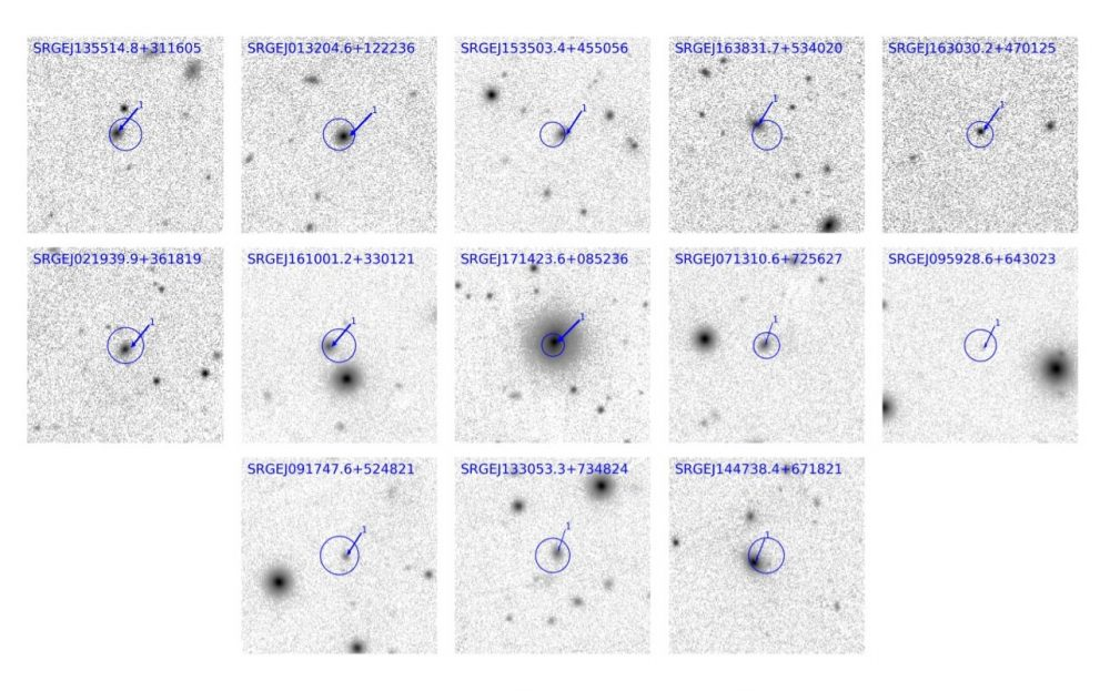 The arrows on this image show the objects that were studies with optical spectroscopy while the circles show the localization region. Credit: Sazonov et al., 2021
