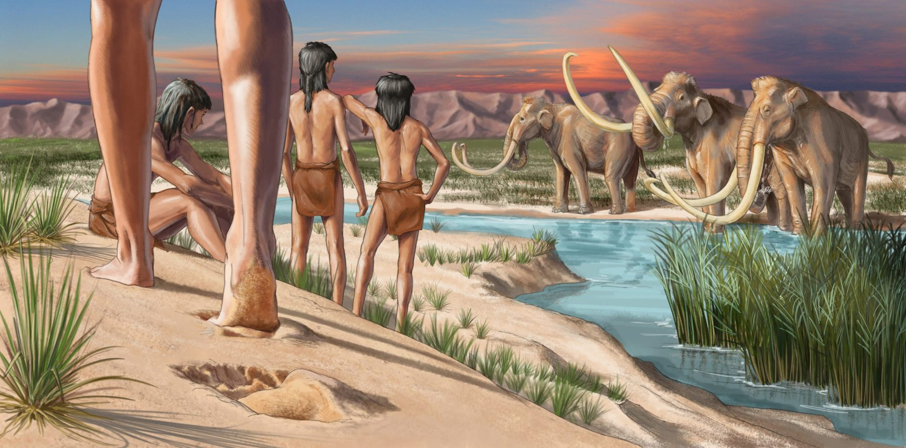 Artist's impression of young humans in the ice age and how their footprints were formed. Credit: Karen Carr
