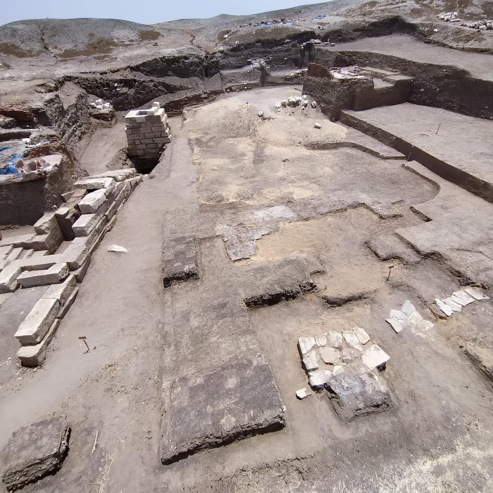 Photograph from the excavations at the temple in Buto. Credit: Ministry of Antiquities / Facebook