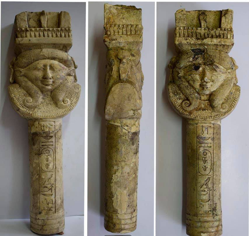 The limestone column with the image of Hathor. Credit: Ministry of Antiquities / Facebook